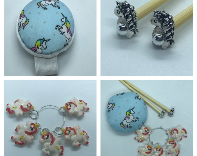 Unicorn Gift Set includes 23cm 4mm knitting needles, wrist pin cushion and stitch markers