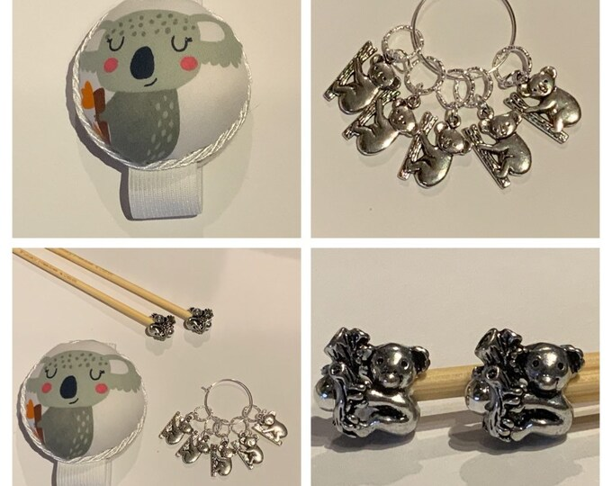 Koala Gift Set includes 23cm 4mm knitting needles, wrist pin cushion and stitch markers