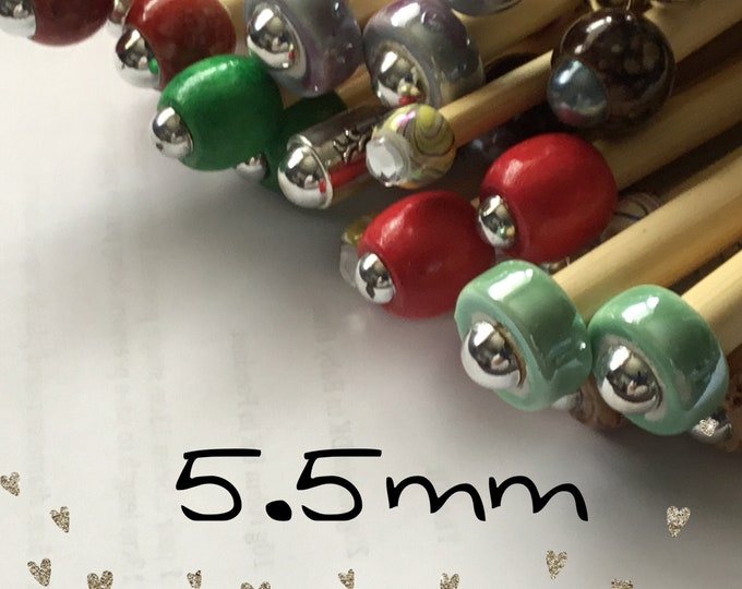 Size 5.5mm (us size 9) 1 Pair Beaded Bamboo Knitting Needles/Crochet Hook, Choose Length & Bead