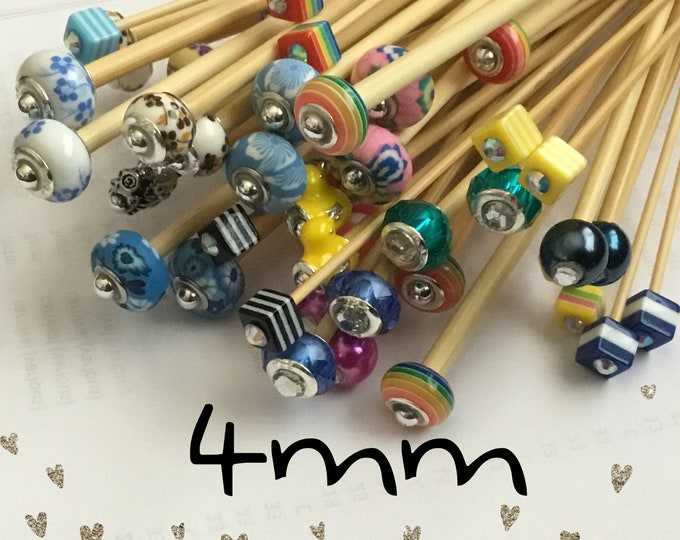 Size 4mm (us size 6) 1 Pair Beaded Bamboo Knitting Needles/Crochet Hook, Choose Length & Bead