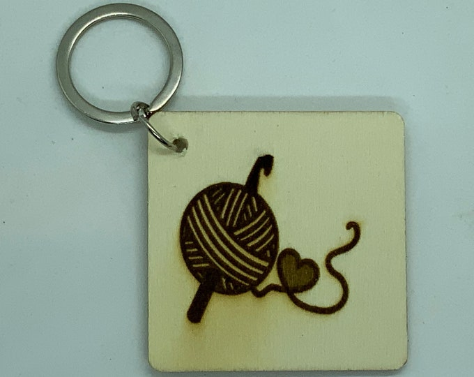 Engraved Handmade Wooden Craft Key Fob with Name/Phone Number on Back