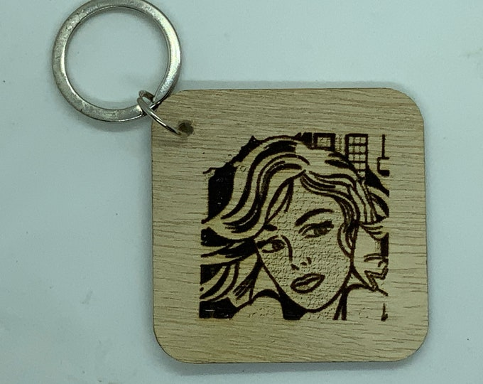 Engraved Handmade Wooden Pop Art Key Fob with Name/Phone Number on Back