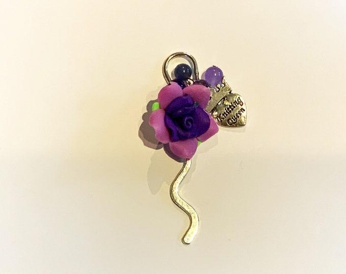 Handmade Knitting/Crochet Charm Bookmark - Choose Colour and Charms