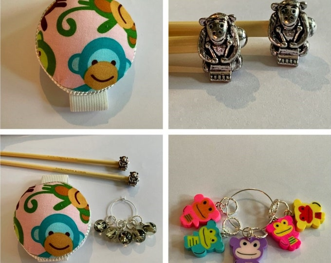 Monkey Gift Set includes 23cm 4mm knitting needles, wrist pin cushion and stitch markers