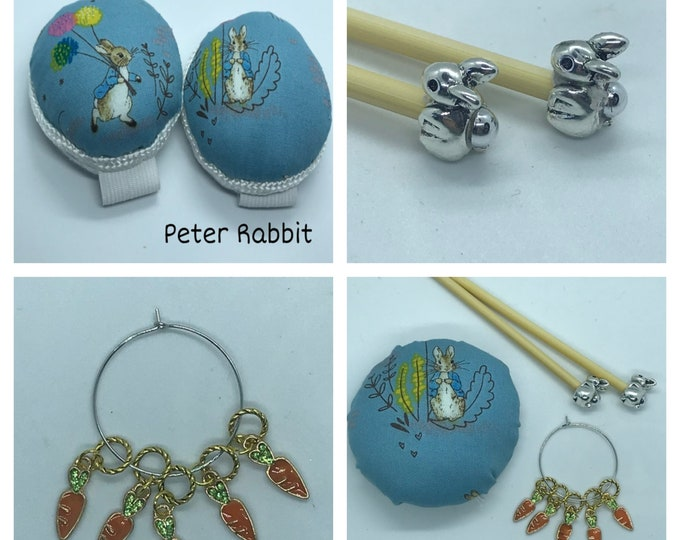 Peter Rabbit Gift Set includes 23cm 4mm knitting needles, wrist pin cushion and stitch markers