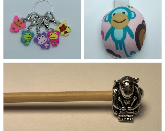 Monkey Crochet Gift Set includes 15cm 4mm crochet hook, wrist pin cushion and crochet clips