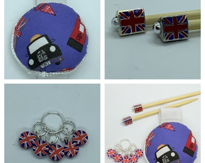 Hello London Gift Set includes 23cm 4mm knitting needles, wrist pin cushion and stitch markers