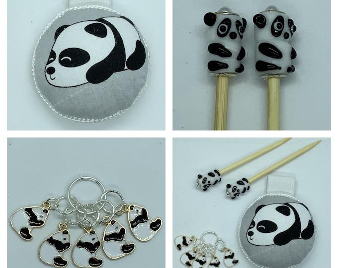 Panda Gift Set includes 23cm 4mm knitting needles, wrist pin cushion and stitch markers