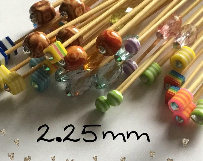 Size 2.25mm (us size 1) 1 Pair Beaded Bamboo Knitting Needles, Choose Length & Bead