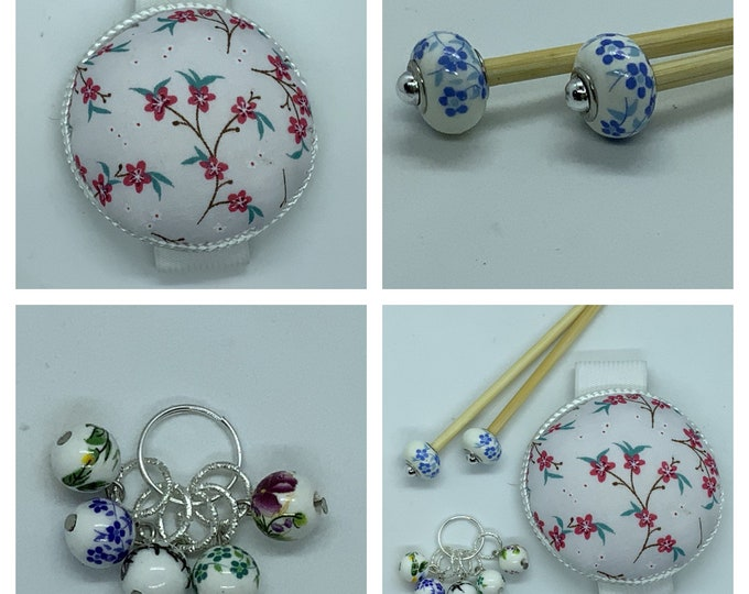 Cherry Blossom Gift Set includes 23cm 4mm knitting needles, wrist pin cushion and stitch markers