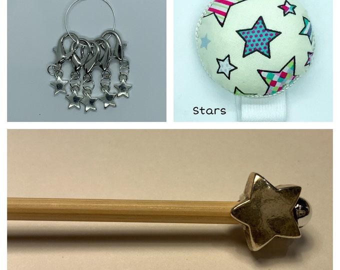 Stars Crochet Gift Set includes 15cm 4mm crochet hook, wrist pin cushion and crochet clips