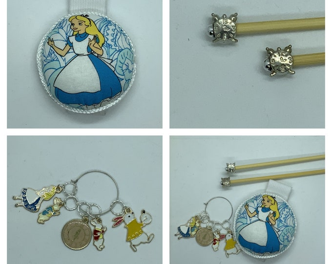 Alice in Wonderland Gift Set includes 23cm 4mm knitting needles, wrist pin cushion and stitch markers