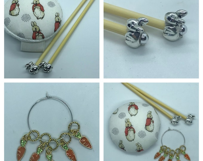 Flopsy Bunny Gift Set includes 23cm 4mm knitting needles, wrist pin cushion and stitch markers