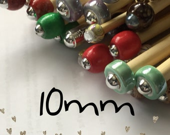 Size 10mm (us size 15) 1 Pair Beaded Bamboo Knitting Needles/Crochet Hook, Choose Length & Bead