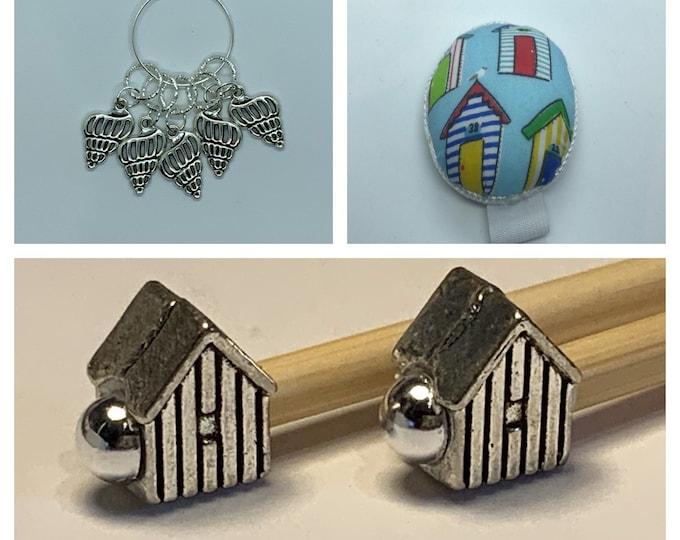 Beach Hut Knitting Gift Set includes 23cm 4mm knitting needles, wrist pin cushion and stitch markers