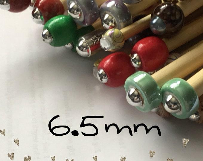 Size 6.5mm (us size 10.5) 1 Pair Beaded Bamboo Knitting Needles/Crochet Hook, Choose Length & Bead
