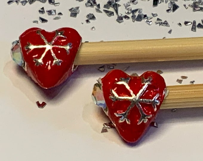Limited Edition Christmas Beaded Knitting Needles and Hooks Snowflake, Hearts available sizes 3-5mm