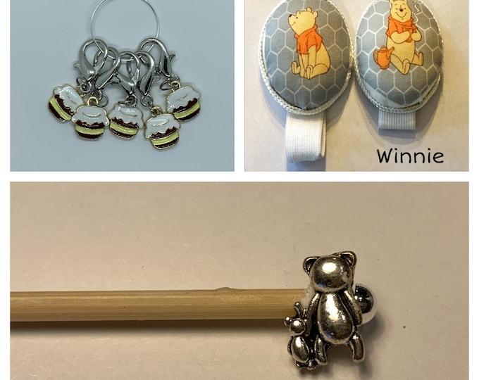 Winnie the Pooh Crochet Gift Set includes 15cm 4mm crochet hook, wrist pin cushion and crochet clips