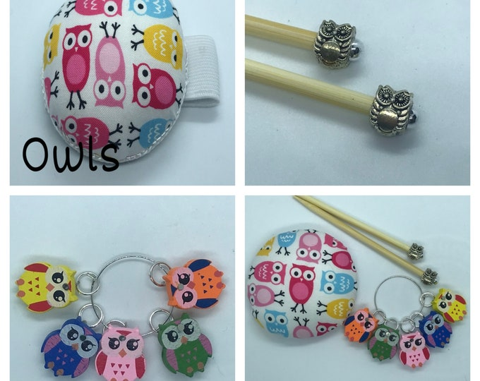 Owl Gift Set includes 23cm 4mm knitting needles, wrist pin cushion and stitch markers