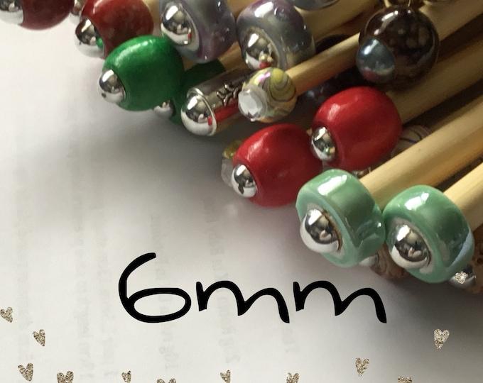 Size 6mm (us size 10) 1 Pair Beaded Bamboo Knitting Needles/Crochet Hook, Choose Length & Bead