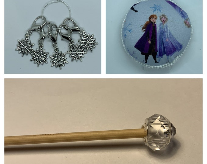 Frozen Crochet Gift Set includes 15cm 4mm crochet hook, wrist pin cushion and crochet clips
