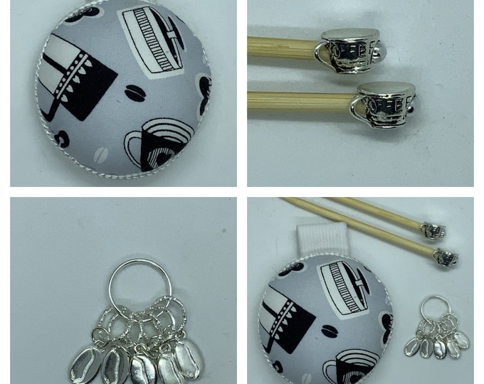 Coffee Break Gift Set includes 23cm 4mm knitting needles, wrist pin cushion and stitch markers