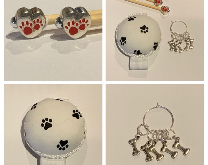 Dog Gift Set includes 23cm 4mm knitting needles, wrist pin cushion and stitch markers