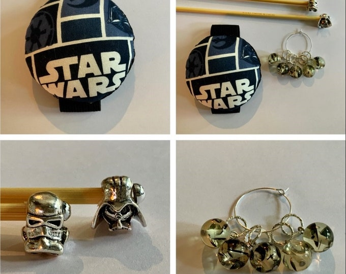 Star Wars Gift Set includes 23cm 4mm knitting needles, wrist pin cushion and stitch markers