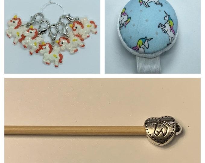 Unicorns Crochet Gift Set includes 15cm 4mm crochet hook, wrist pin cushion and crochet clips