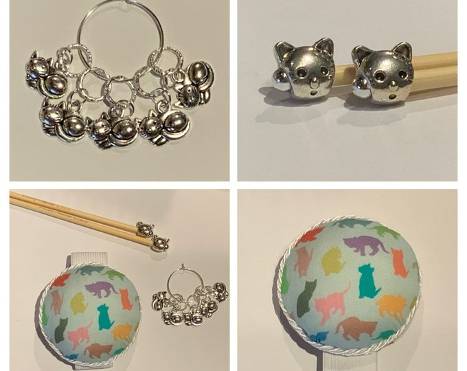 Cat Gift Set includes 23cm 4mm knitting needles, wrist pin cushion and stitch markers