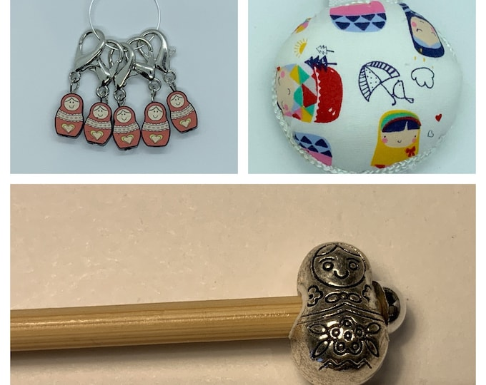 Russian Doll Crochet Gift Set includes 15cm 4mm crochet hook, wrist pin cushion and crochet clips