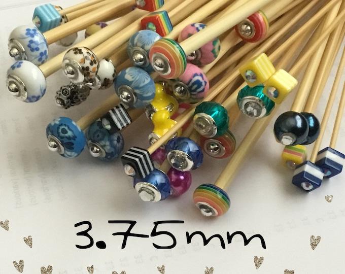 Size 3.75mm (us size 5) 1 Pair Beaded Bamboo Knitting Needles/Crochet Hook, Choose Length & Bead