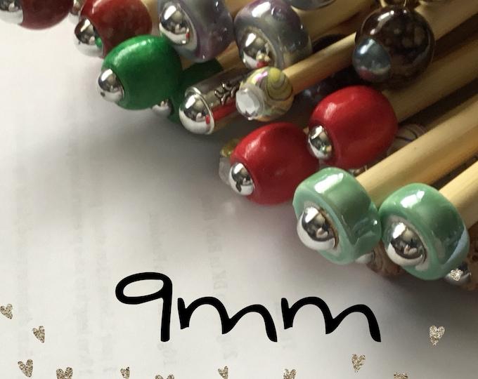 Size 9mm (us size 13) 1 Pair Beaded Bamboo Knitting Needles/Crochet Hook, Choose Length & Bead