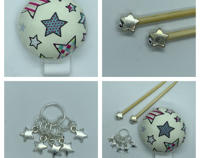 Star Gift Set includes 23cm 4mm knitting needles, wrist pin cushion and stitch markers