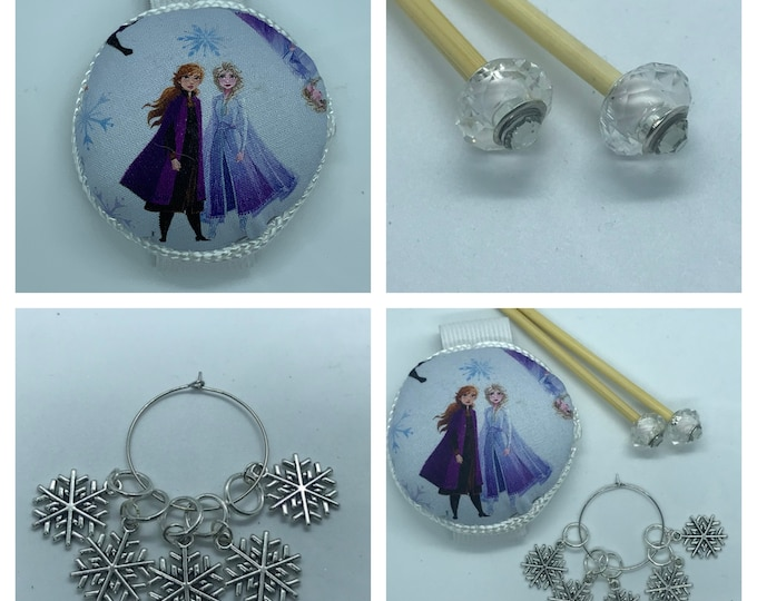Frozen Gift Set includes 23cm 4mm knitting needles, wrist pin cushion and stitch markers