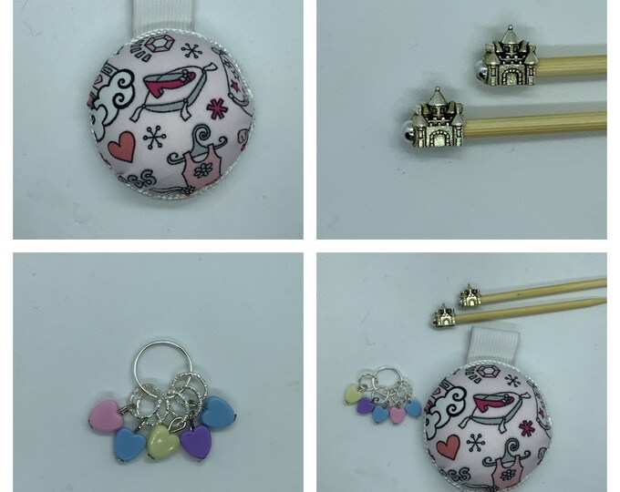 Princess Gift Set includes 23cm 4mm knitting needles, wrist pin cushion and stitch markers