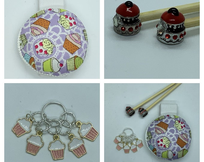 Cupcake Gift Set includes 23cm 4mm knitting needles, wrist pin cushion and stitch markers