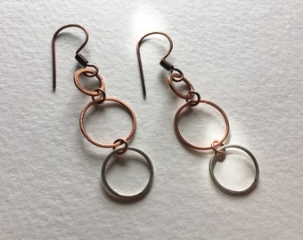 Copper & Sterling Silver Mixed Metal Stacked Circle Earrings