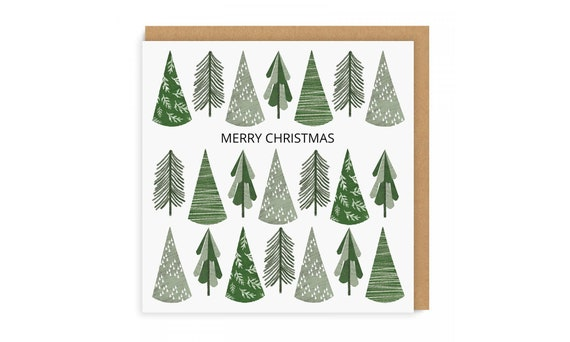 Christmas Tree Cards Designs.Illustrated Christmas Card Square Greeting Card Christmas Card Christmas Card Design Christmas Tree Pattern Seasonal Card