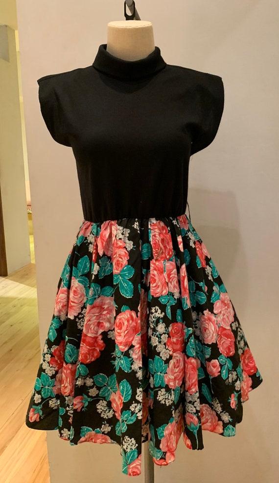 1980s floral mini dress - image 2
