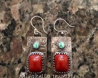Silver Earrings, Red Jasper, Natural Nevada Turquoise  Artisan Jewelry, Jewelry Art, Handmade, Metalsmith, Artisan Jewelry, Art Jewelry