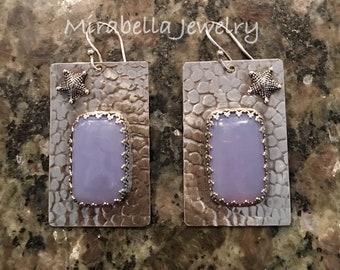 Silver Earrings, Blue Chalcedony,  Artisan Jewelry, Jewelry Art, Handmade, Metalsmith, Artisan Jewelry, Art Jewelry