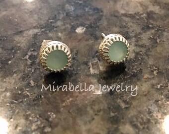 Silver Earrings, Aqua Blue Chalcedony,  Artisan Jewelry, Jewelry Art, Handmade, Metalsmith, Artisan Jewelry, Art Jewelry