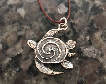 Sterling Silver Necklace, Turtle, Leather Cord,  Artisan Jewelry, Handmade, Metalsmith