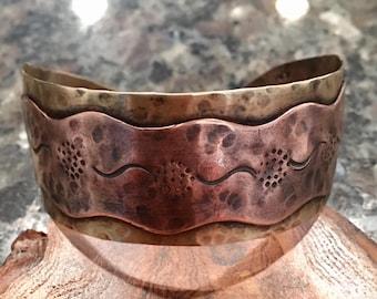 Brass Cuff, Copper Cuff, Mixed Metals, Handmade,Hammered, Cuff, Metalsmith, Artisan Jewelry