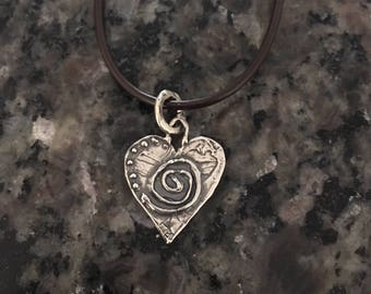 Sterling Silver Necklace, Heart, Leather Cord, Handmade, Metalsmith,  Artisan Jewelry