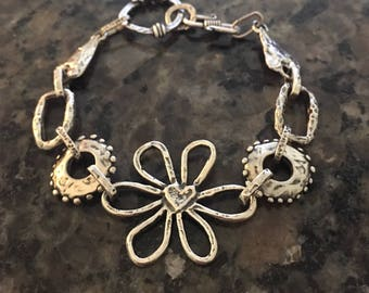 Sterling Silver Bracelet, Flower,  Hearts, Artisan Jewelry, Jewelry Art, Handmade, Metalsmith, Art Jewelry