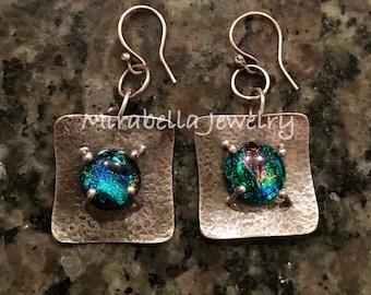 Silver Earrings, Dichroic Glass,  Artisan Jewelry, Jewelry Art, Handmade, Metalsmith, Artisan Jewelry, Art Jewelry