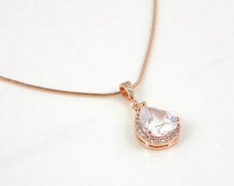Collier en or rose pour la robe de mariage / pendentif bijoux de mariée pour les demoiselles d'honneur / formelle cadeaux pour les dames