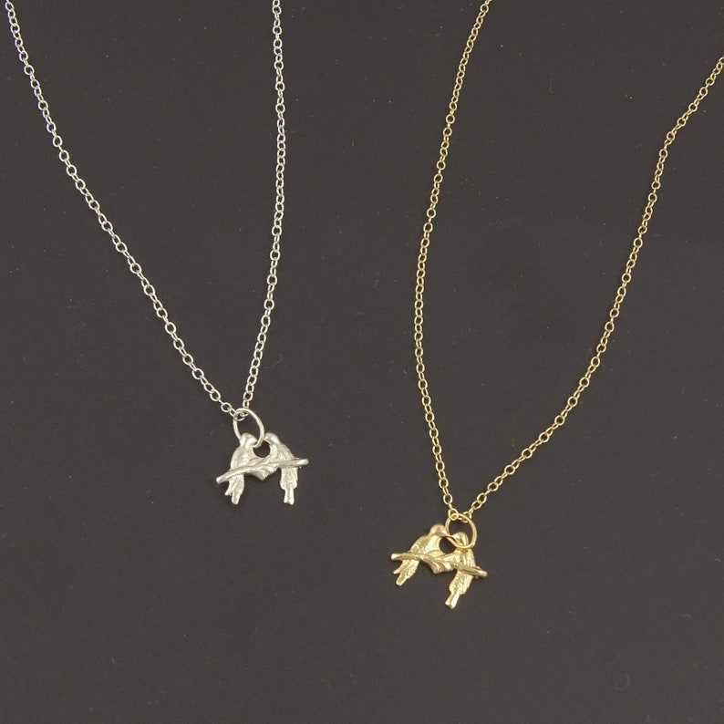 61dc76e47db11 Small Two Birds Kissing Necklace in Sterling Silver or Gold Filled // Sweet  Cute Jewelry for Girlfriend // Lovebird Birthday Gift Ideas